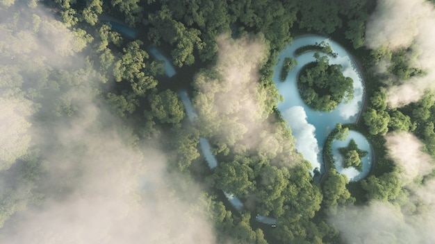 Concept de voyage écologique. rendu 3d de la forêt amazonienne brumeuse dense avec signe de point de carte en forme d'étang.