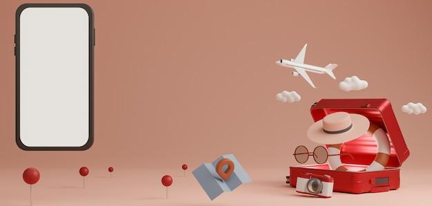 Concept de voyage maquette mobile écran blanc. rendu 3d