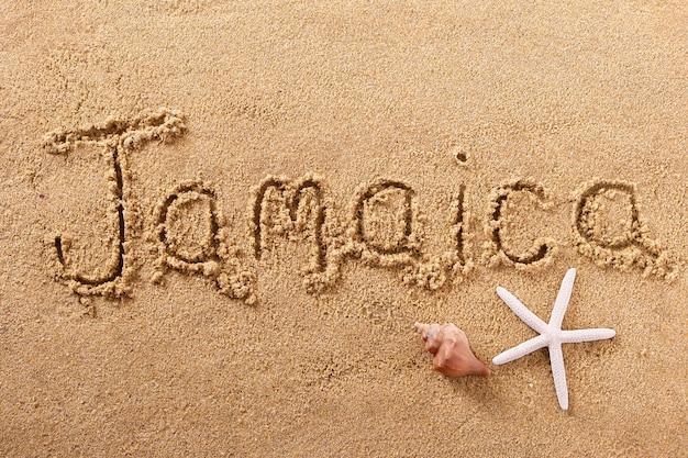 Concept de voyage de message d'écriture de plage de la jamaïque
