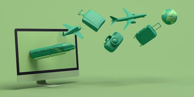 Concept de voyage avec ordinateur. bannière. avion, train, valise, appareil photo, ballon... espace copie. app.