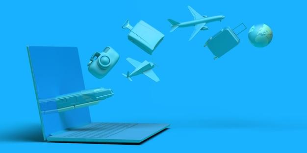 Concept de voyage avec ordinateur portable. bannière. avion, train, valise, appareil photo, ballon... espace copie. app.