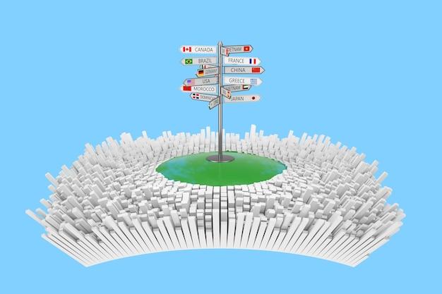 Concept de voyage. panneau de voyage avec divers noms de pays et drapeaux au centre de la ville abstraite avec de nombreux bâtiments abstraits sur fond bleu. rendu 3d