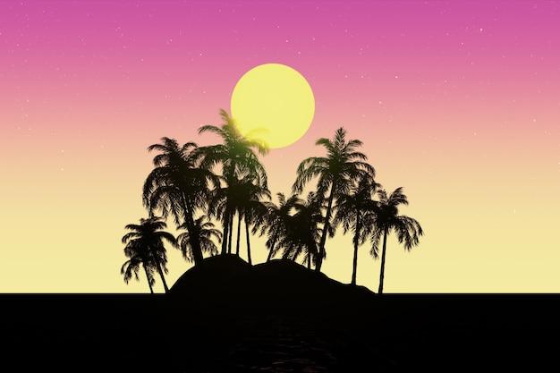Concept de voyage. paysage de style synthwave des années 80 avec un gros plan extrême de palmiers et de soleil. rendu 3d