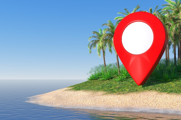 Concept de voyage. pointeur de carte sur une île de sable du désert avec des palmiers au milieu de l'océan gros plan extrême. rendu 3d