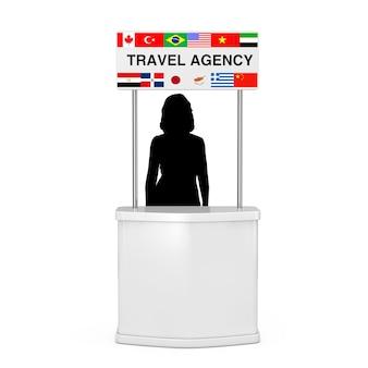 Concept de voyage. stand de promotion d'agence de voyage avec la silhouette de femme et les drapeaux de divers pays sur un fond blanc le rendu 3d