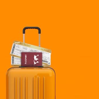 Concept de voyage. valise de voyage orange avec golden business ou first class airline boarding pass fly air tickets and passports sur fond orange. rendu 3d