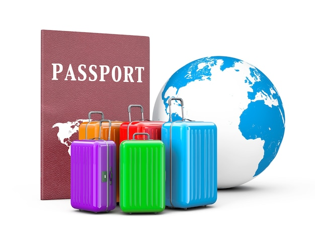 Concept de voyage. valises avec passeport et globe terrestre sur fond blanc. rendu 3d