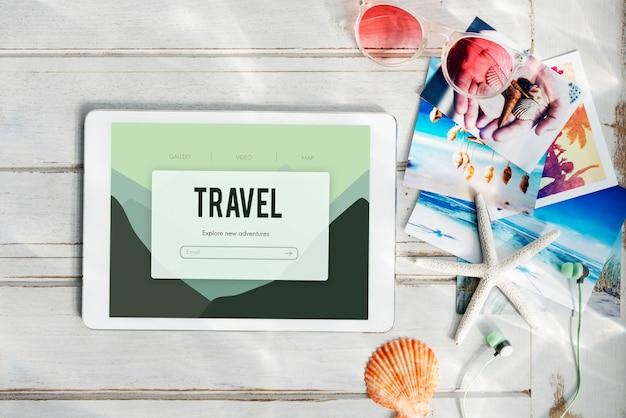 Concept de voyage de voyage de vacances d'aventure