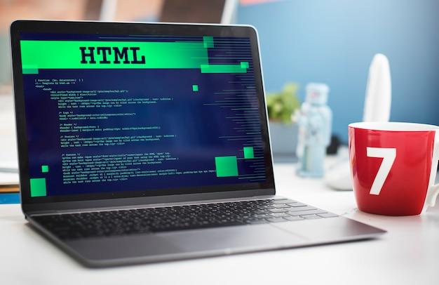 Concept web de technologie avancée de programmation html