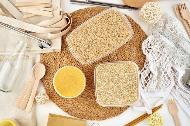 Concept zéro déchet. produits réutilisables, sans gluten. matériaux naturels