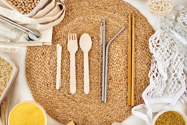 Concept zéro déchet. produits réutilisables, sans gluten.