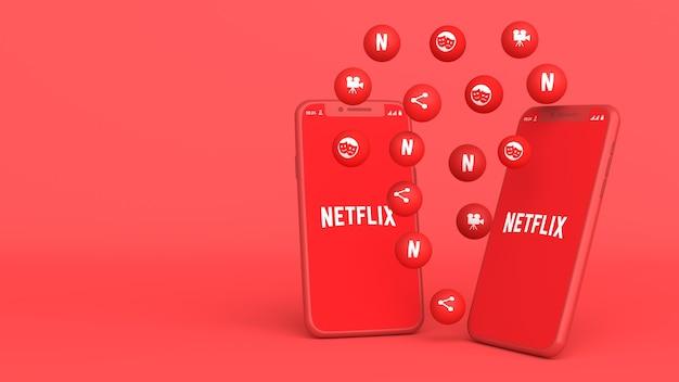 Conception 3d de deux téléphones avec des icônes netfilx pop up