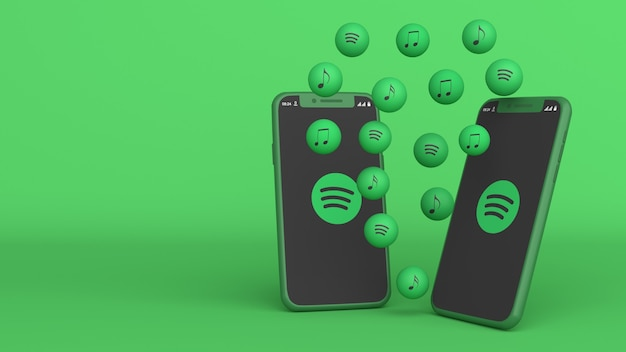 Conception 3d de deux téléphones avec des icônes spotify pop-up