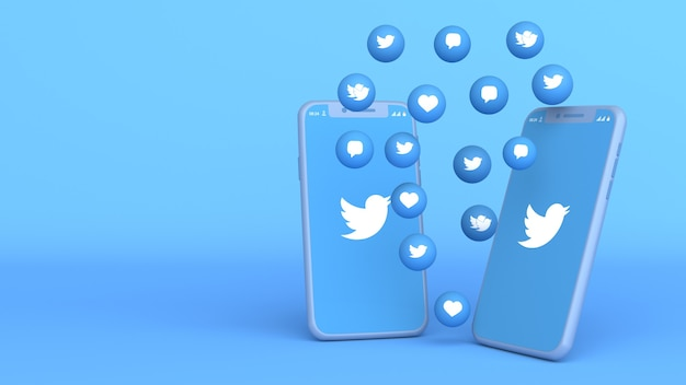 Conception 3d de deux téléphones avec des icônes twitter pop-up