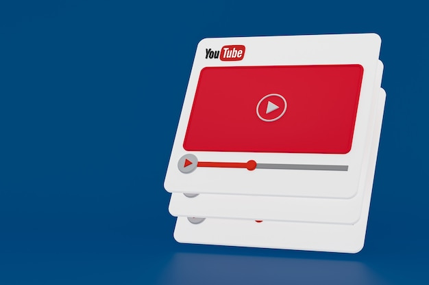 Conception 3d de lecteur vidéo youtube ou interface de lecteur multimédia vidéo