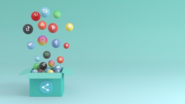 Conception 3d de médias sociaux avec boîte faisant apparaître diverses icônes