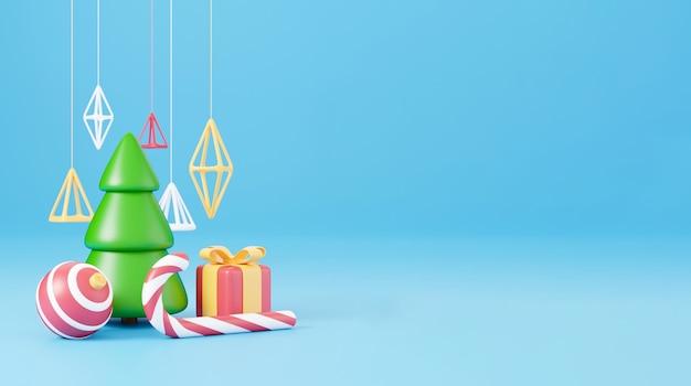 Conception 3d de nouvel an et de noël. boîte de cadeaux réalistes, sapin de noël, boule, bonbons et bannière de vacances d'éléments décoratifs. image de rendu 3d des vacances de noël