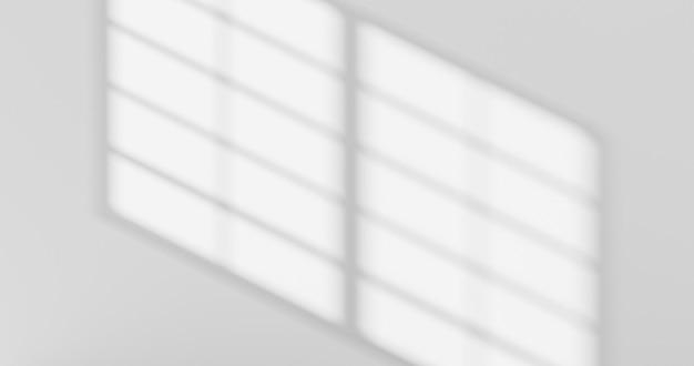 Conception abstraite de la lumière du soleil d'ombre de superposition de fenêtre et mur blanc sur une surface floue de fond gris vide avec effet de lumière ou fond d'écran de présentation nature toile de fond d'été. rendu 3d.