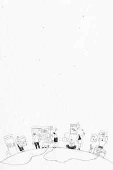 Conception d'art de griffonnage d'équipe de production dessinée à la main en noir et blanc