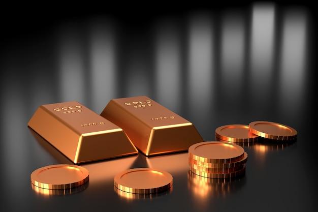 Conception de bannière de lingots d'or. rendu 3d.