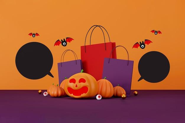 Conception de bannière de vente d'halloween citrouilles d'halloween et sac à provisions sur fond orange pour l'accueil c