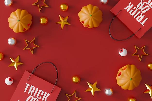 Conception de bannière de vente d'halloween citrouilles d'halloween et sac à provisions sur fond rouge