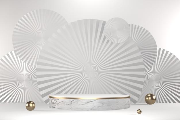 Conception blanche hexagonale de granit sur fond blanc minimal. rendu 3d