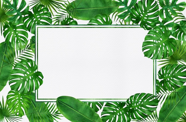 Conception de cadre feuilles tropicales aquarelle