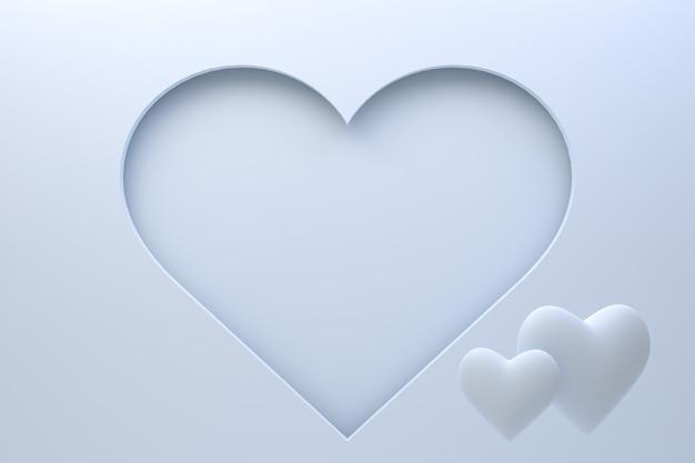 Conception de carte de voeux de rendu 3d, coeurs cyan avec lettrage carte postale. fond d'amour pour la saint-valentin heureuse ou la conception de cartes de voeux de maman d'amour.