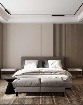 Conception de chambre à coucher intérieure moderne et décor de fond de mur en bois avec rendu 3d de table d'appoint
