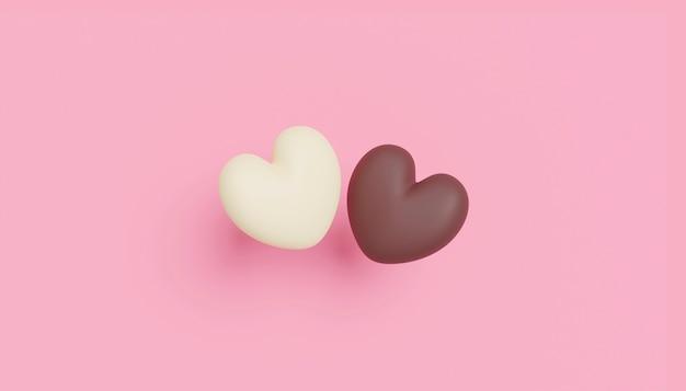 Conception de concept d'amour de coeurs en chocolat sur fond de papier rose avec copie espace rendu 3d