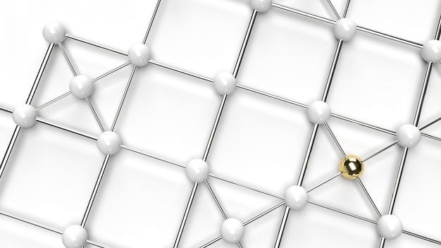 La conception de la connexion de conception abstraite structure de réseau en or et sphère blanche rendu 3d.