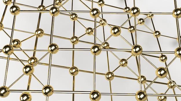 La conception de connexion de conception abstraite structure de réseau de sphère d'or rendu 3d.