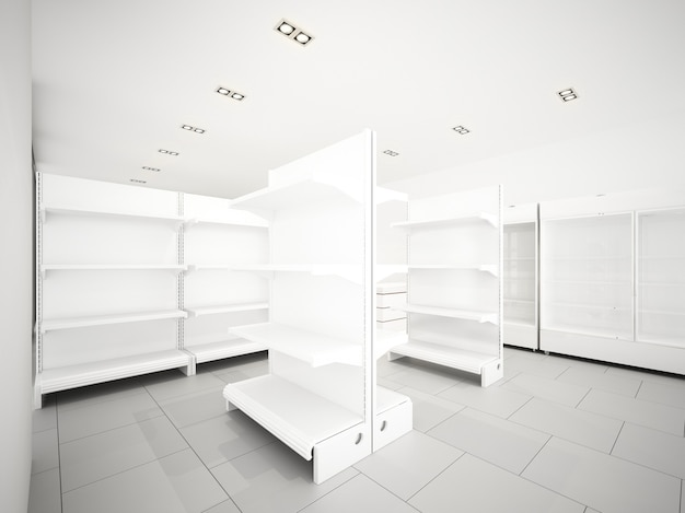 Conception de croquis de supermarché, rendu 3d