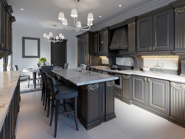Conception de cuisine classique moderne avec armoires noires et plan de travail et sol en marbre blanc. rendu 3d.