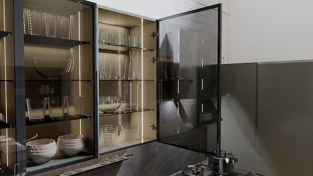 Conception de cuisine en gros plan avec étagère