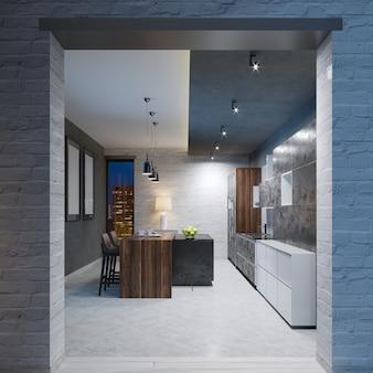 Conception de cuisine moderne avec un long îlot central et une table de bar équipée d'un comptoir en marbre noir, équipement en acier inoxydable. rendu 3d