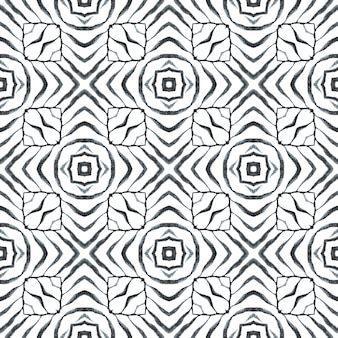 Conception dessinée à la main arabesque. beau design d'été boho chic en noir et blanc. textile prêt à imprimer admirable, tissu de maillot de bain, papier peint, emballage. bordure dessinée à la main en arabesque orientale.