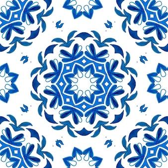 Conception dessinée à la main de flocon de neige arabersque impression d'hiver indigo