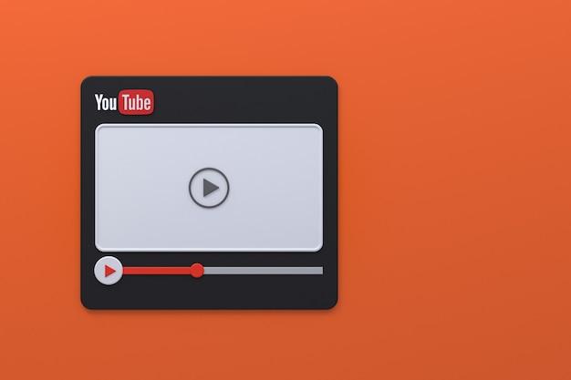 Conception d'écran 3d de lecteur vidéo youtube ou interface de lecteur multimédia vidéo