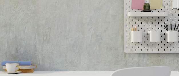 Conception d'espace de travail moderne loft avec espace de copie pour l'affichage du produit sur le mur du loft de bureau blanc