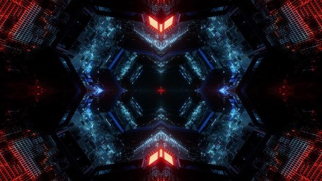 Conception de fond abstrait illustration 3d science-fiction avec éclairage néon coloré brillant à l'intérieur du tunnel sans fin sombre