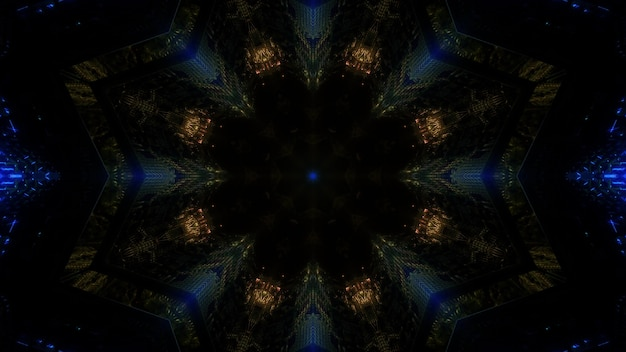 Conception de fond abstrait minimaliste illustration 3d avec néons dorés et bleus formant cadre en forme de cercle de tunnel sombre
