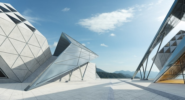 Conception de forme triangulaire contemporaine architecture moderne extérieur du bâtiment