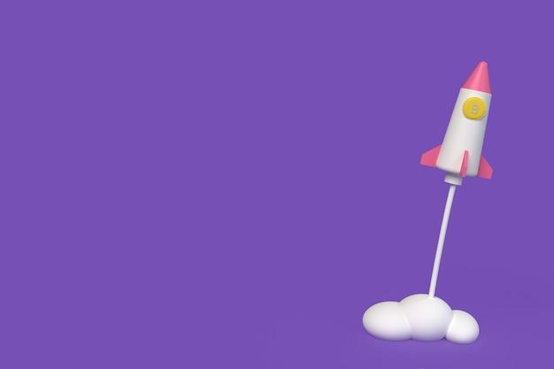Conception de fusée à glissière, style cla. illustration de rendu 3d