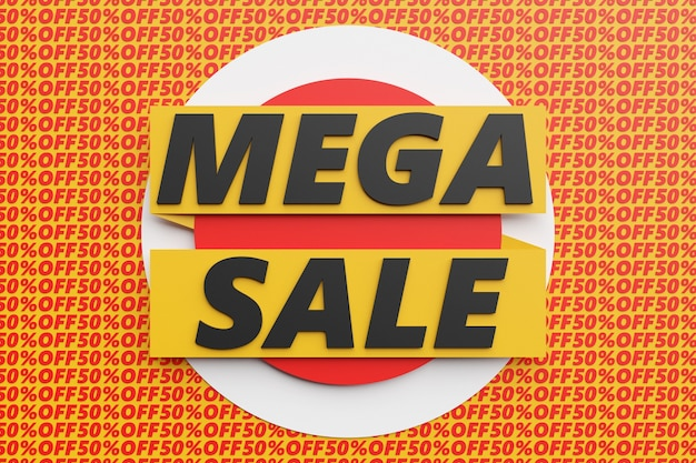 Conception d'illustration 3d d'une bannière sur un ruban jaune pour méga grandes ventes avec la vente d'inscription. modèles d'étiquettes avec des offres spéciales d'achat