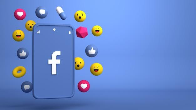 Conception d'illustration 3d du téléphone facebook et des icônes pop-up