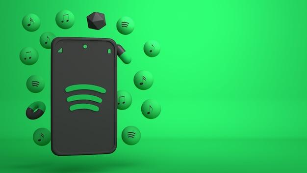 Conception d'illustration 3d du téléphone spotify et des icônes pop-up