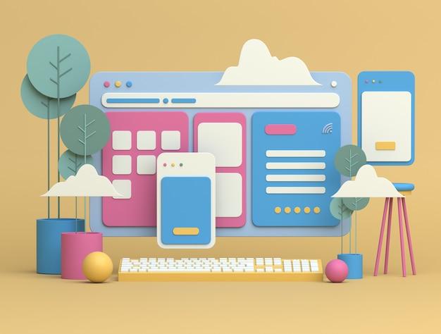 Conception d'illustration 3d avec espace de copie pour le marketing en ligne