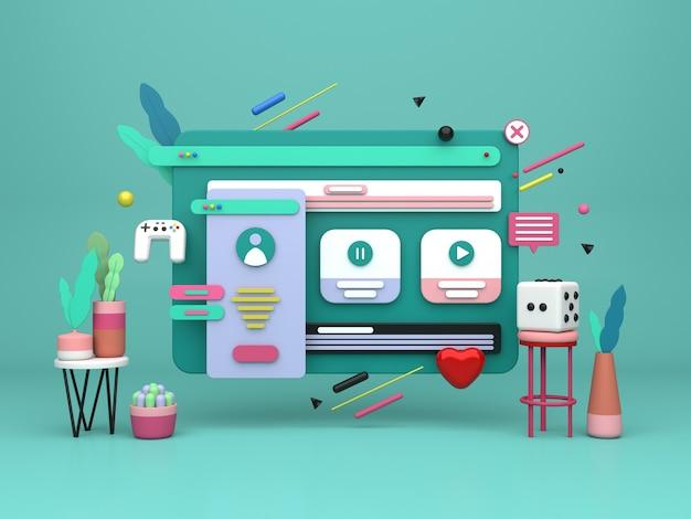 Conception d'illustration 3d pour le marketing en ligne et la création de sites web